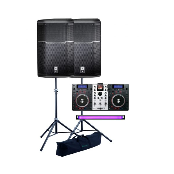 DJ-controller-speakers-UV-Light-effects-rental