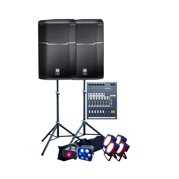 i-Party-Hire-Speakers-Mixer-Lighting-Setup